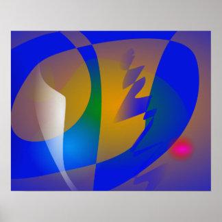 Arte abstracta azul impressionante