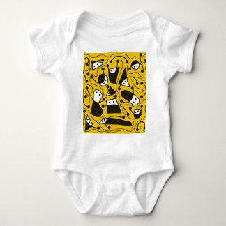 Arte abstracta brincalhão - amarelo body para bebê