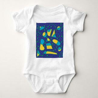 Arte abstracta brincalhão - azul e amarelo body para bebê