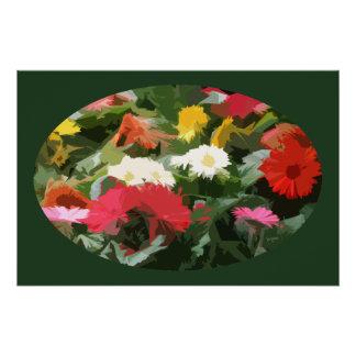 Arte abstracta colorida das flores dos ásteres em poster perfeito