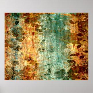 Arte abstracta de madeira da flor do vintage poster