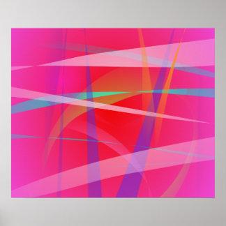 Arte abstracta do rosa chocante posteres