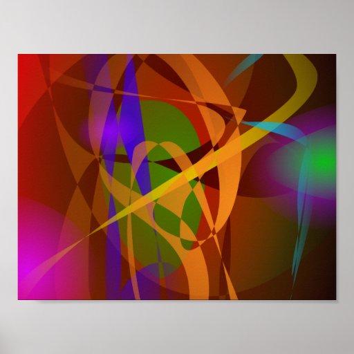 Arte abstracta luminosa de Brown Digital Pôsteres