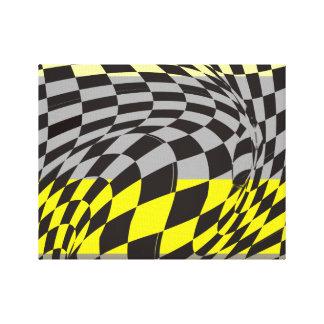 Arte abstracta preta e amarela impressão de canvas esticadas