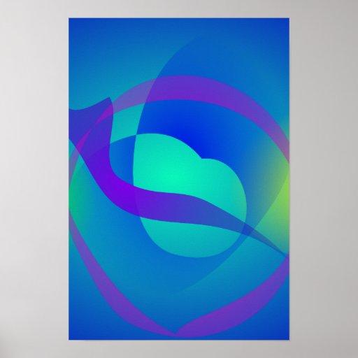 Arte abstracta reconfortante azul impressão
