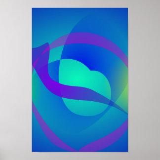 Arte abstracta reconfortante azul posteres