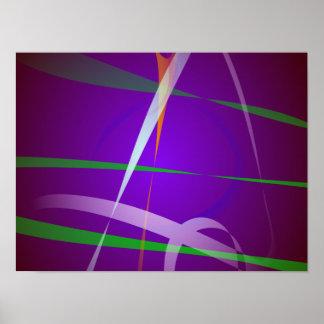Arte abstracta roxa azul Illuminating Posteres