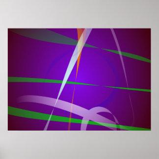 Arte abstracta roxa azul Illuminating Posters