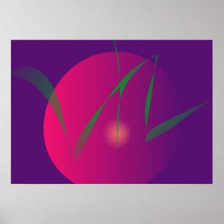 Arte abstracta roxa da noite da lua dobro impressão