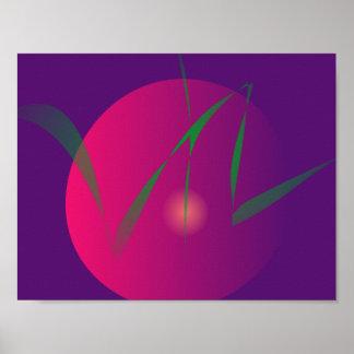Arte abstracta roxa da noite da lua dobro posters