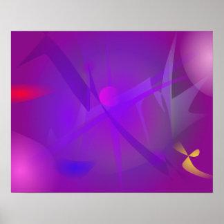 Arte abstracta roxa de Digitas do buraco negro Posteres