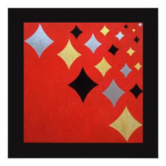 Arte abstracta vermelha do diamante poster perfeito