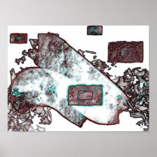 Arte abstrata de cobre do poster da expressão