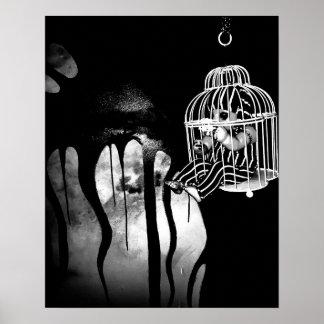 Arte abstrata do horror - boneca na gaiola pôster