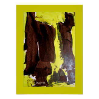 Arte Abstrata - Marron/Verde Pôster