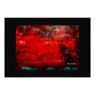 Arte Abstrata - Vermelho/Azul Pôster