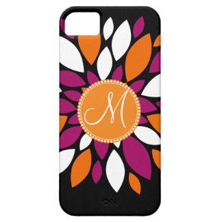 Arte alaranjada roxa da flor da inicial feita sob capa para iPhone 5