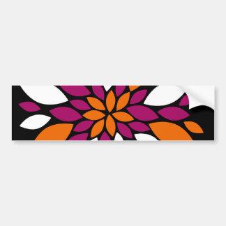 Arte alaranjada roxa da pétala da flor branca no adesivo para carro