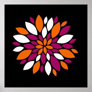 Arte alaranjada roxa da pétala da flor branca no p poster