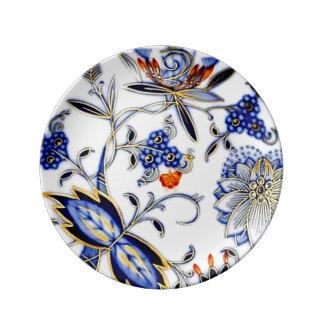 Arte antiga azul do teste padrão de China do fluxo Pratos De Porcelana