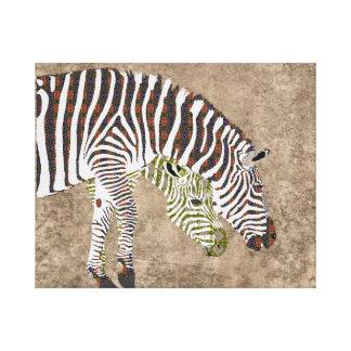 Arte boémia da zebra impressão de canvas envolvida