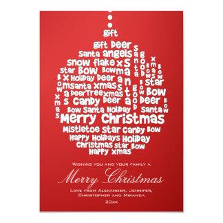 Arte branca da palavra dos enfeites de natal no convite 12.7 x 17.78cm