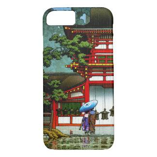 Arte clássica japonesa oriental legal da chuva do capa iPhone 7