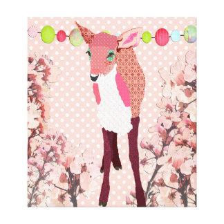 Arte cor-de-rosa bonito do Pok-um-ponto da jovem c Impressão Em Tela