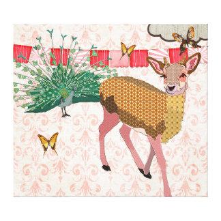 Arte cor-de-rosa cor-de-rosa das canvas dos cervos impressão em tela canvas