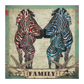 Arte cor-de-rosa das canvas da família da zebra