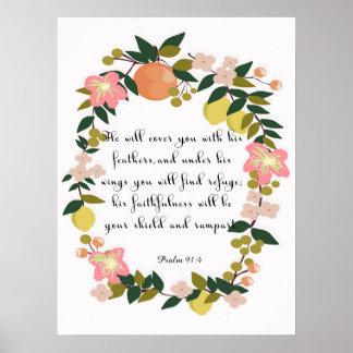 Arte cristã das citações - 91:4 do salmo posteres