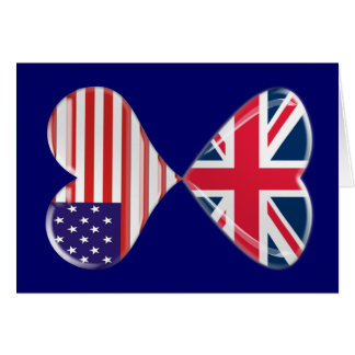 Arte da bandeira dos corações do Reino Unido e dos Cartão Comemorativo