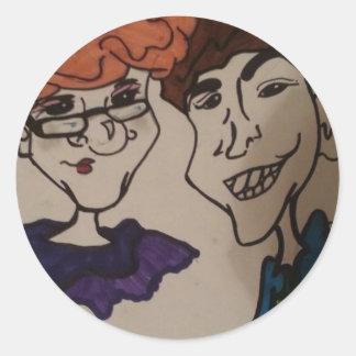 arte da caricatura adesivos em formato redondos
