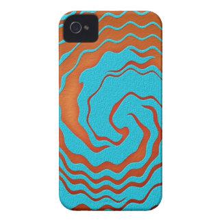 Arte da onda do azul e do abstrato da laranja capas iPhone 4