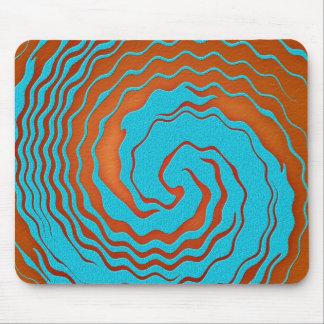 Arte da onda do azul e do abstrato da laranja mouse pads
