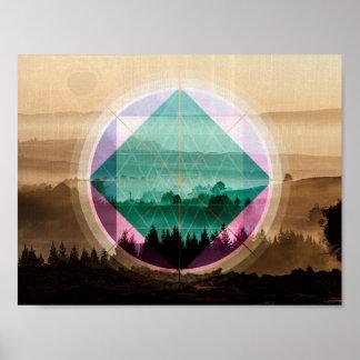 Arte da paisagem de Polyscape Pôster