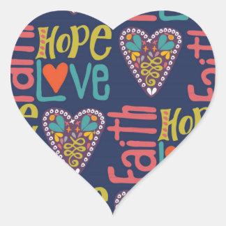Arte da palavra da esperança e do amor da fé adesivo coração