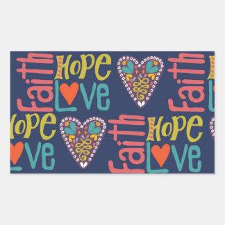 Arte da palavra da esperança e do amor da fé adesivo retangular