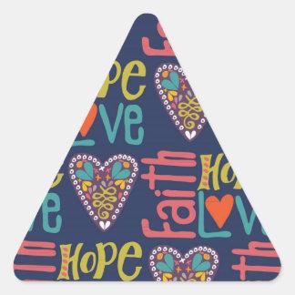 Arte da palavra da esperança e do amor da fé adesivo triangular
