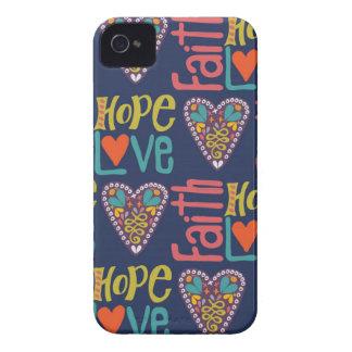 Arte da palavra da esperança e do amor da fé capinhas iPhone 4