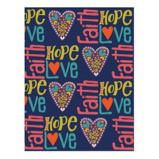 Arte da palavra da esperança e do amor da fé cartão postal