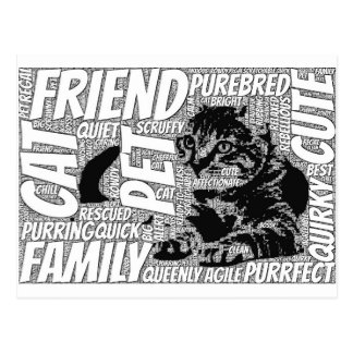 Arte da palavra do design do gato cartão postal