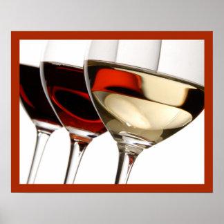 arte da parede de vidros do vinho 20x16 poster