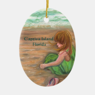 Arte da princesa Florida da ilha de Captiva Ornamento De Cerâmica Oval