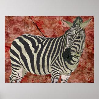 Arte da zebra da cintilação do vintage poster