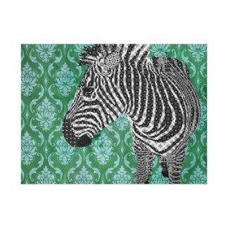 Arte da zebra do vintage impressão de canvas esticada
