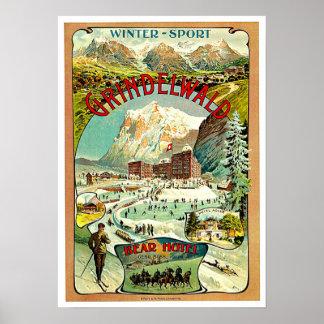 Arte das viagens vintage da suiça poster