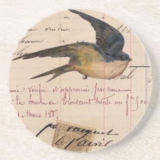 Arte de Digitas do pássaro do vintage e do papel d Porta-copo