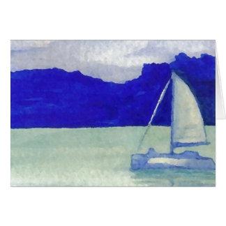 Arte de navigação fácil calma do oceano de cartão comemorativo