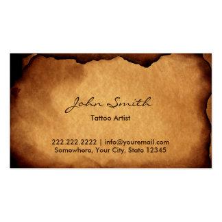 Arte de papel queimada velha do tatuagem do cartão de visita